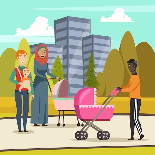 Fathers parental leave orthogonal Free Vector