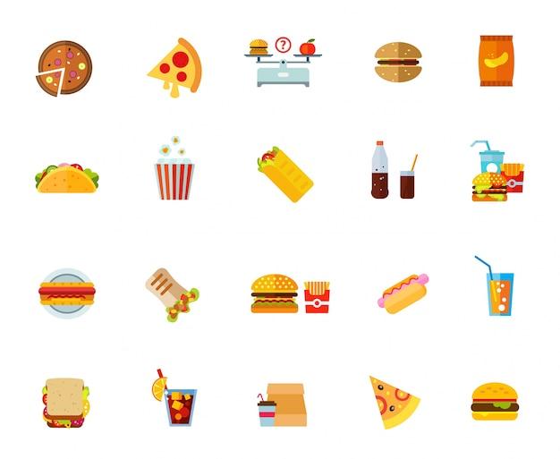 Набор иконок для жирной пищи Бесплатные векторы