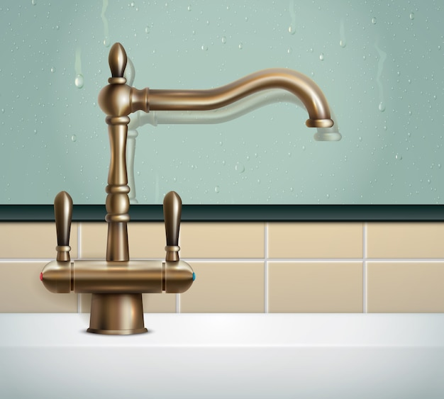 Faucet realistic composition with view of bathing room wall and vintage classic style bronze faucet image Free Vector