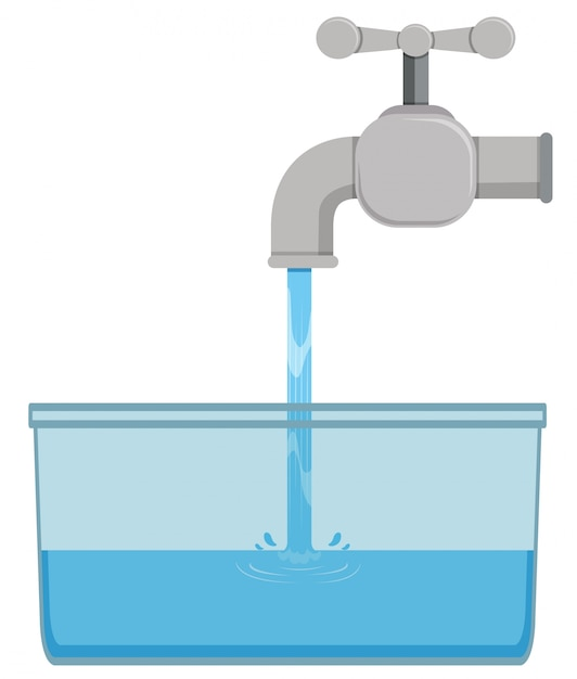 Faucet and tap water in bucket Free Vector