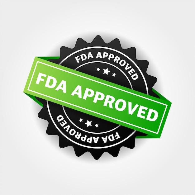 Fdaは白のバナーデザインを承認しました Premiumベクター