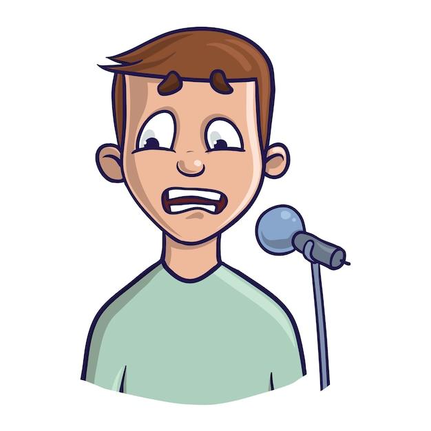 Страх публичных выступлений, глоссофобия. волнение и потеря голоса. молодой человек с микрофоном. иллюстрация, на белом фоне. Premium векторы