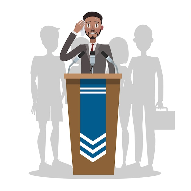 Fear of public speaking or glossphobia. man is afraid of giving presentation to the audience. social anxiety and mental health disorder. psychology concept. isolated flat Premium Vector