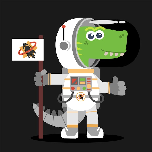 Fearsome dinosaur astronaut in space. cartoon style. illustration. flat design style. Premium Vector