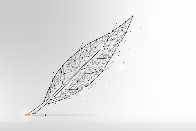 羽の抽象的な多角形のイラスト Premiumベクター