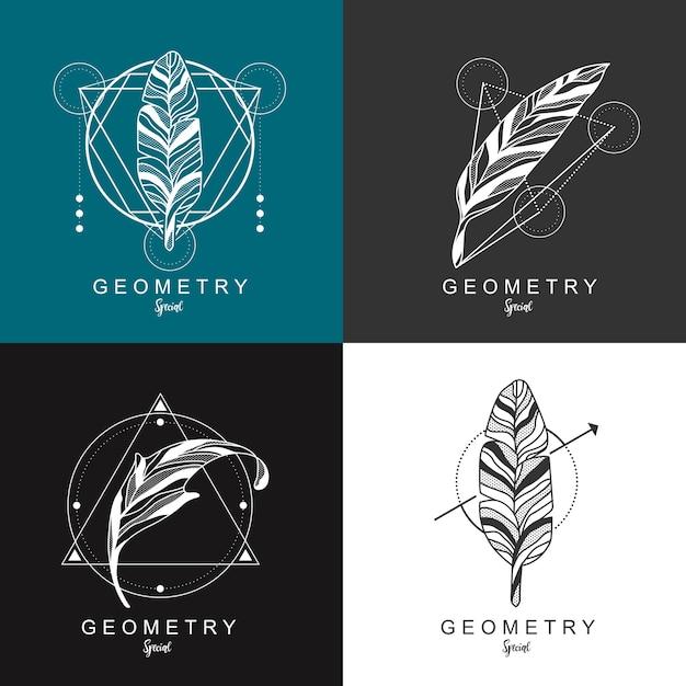 幾何学的なデザインの羽のロゴデザイン Premiumベクター