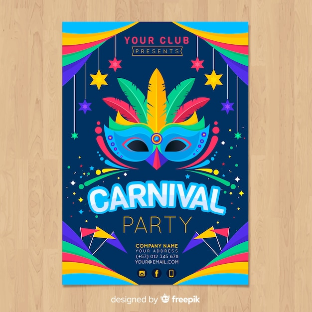 Feather mask brazilian carnival party poster Free Vector