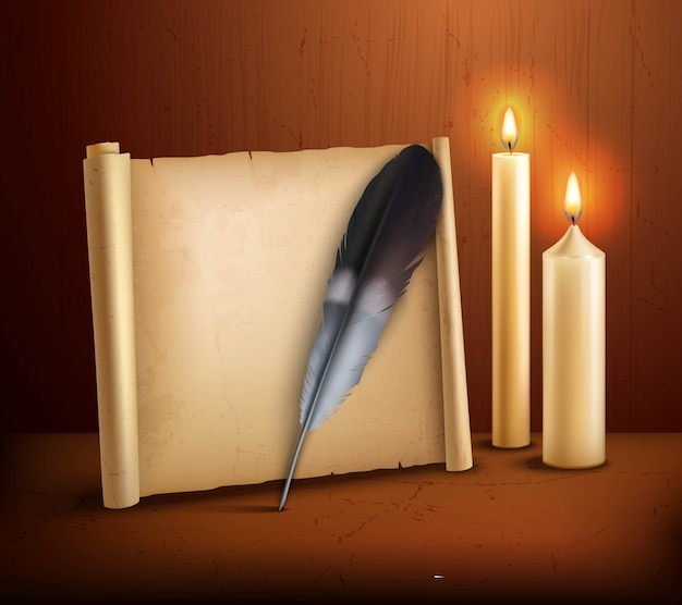 Feather parchment candles realistic background poster Free Vector
