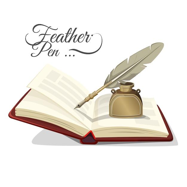 白で隔離の開いた本の羽ペンとインク壺。リアルなデザイン、教科書、インクスタンドのレトロなスタイルのライティングツールを備えたインクポット Premiumベクター