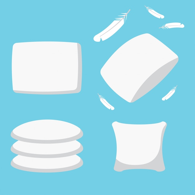 Feather pillow set. cushion cartoon simple flat icons isolated on a blue background. Premium Vector