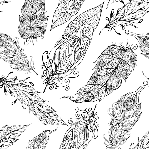 Feather seamless doodle black pattern Free Vector