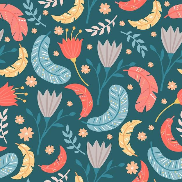 Бесшовный фон из перьев и цветов Бесплатные векторы