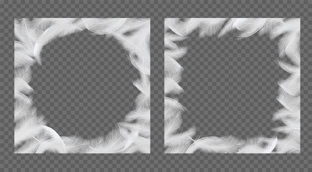 Feathers frame set vector realistic illustration Premium Vector