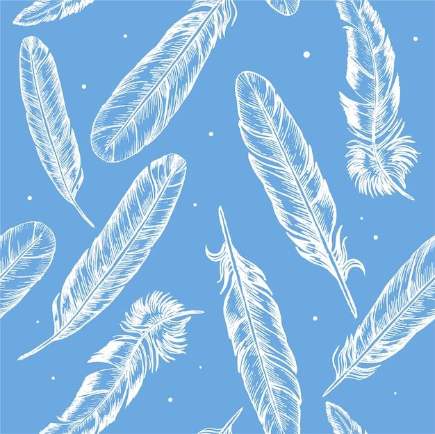 羽の手描きスケッチ自由奔放に生きるまたは青のエスニックスタイルの背景パターン。 Premiumベクター