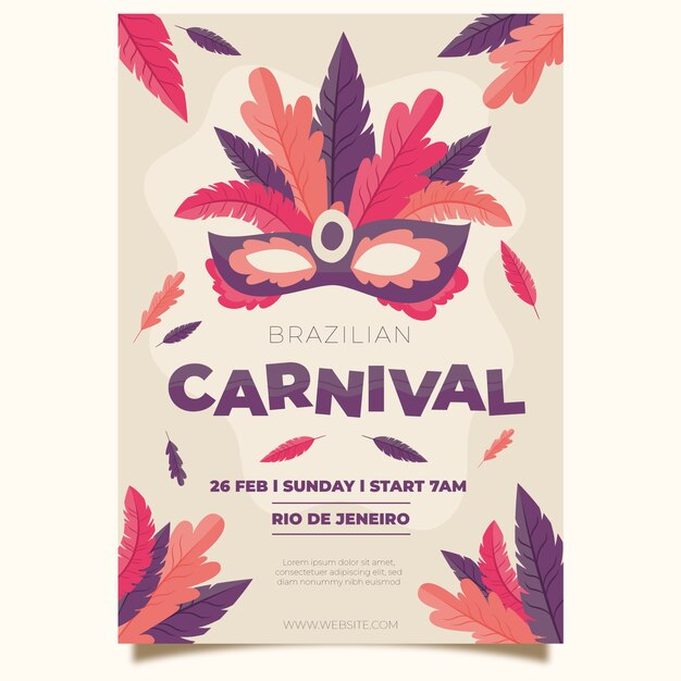 Feathers on mask hand drawn carnival party poster Free Vector