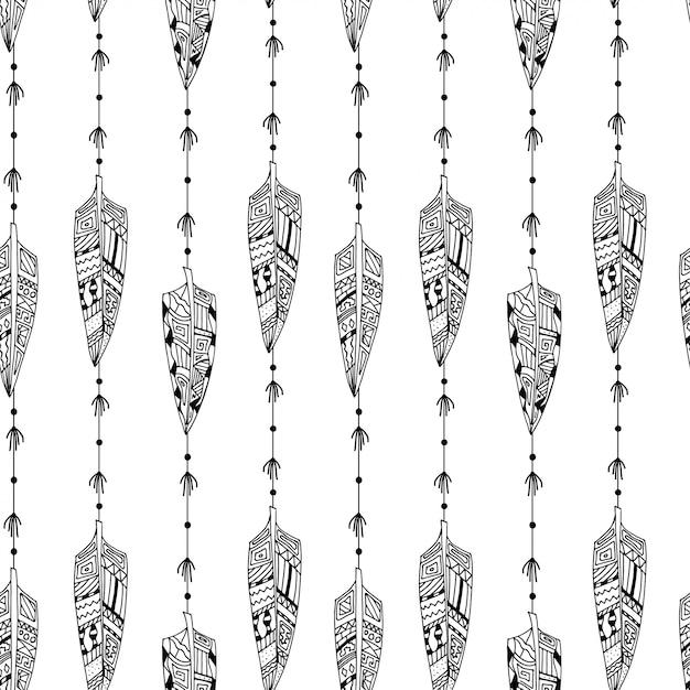 Feathers pattern Premium Vector