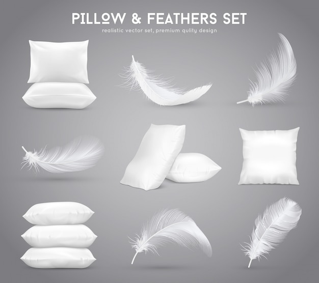 Feathers and pillows realistic set Free Vector