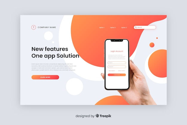 Ui Ux Features technology landing page Free Vector