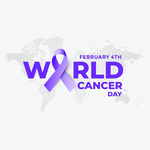 February 4th world cancer day background Free Vector