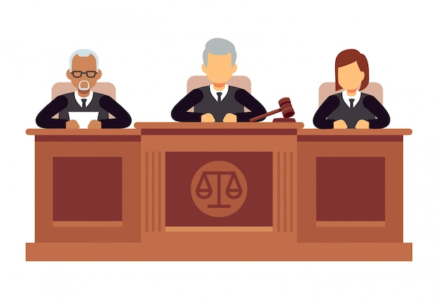 Federal supreme court with judges. jurisprudence and law vector concept Premium Vector