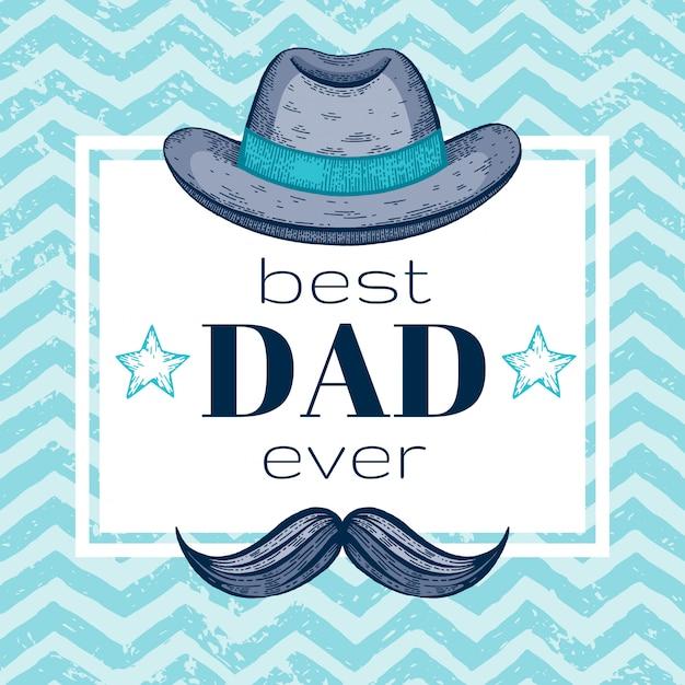 Счастливая поздравительная открытка дня отца с ретро шляпой и усами fedora. эскиз каракули стиль. Premium векторы