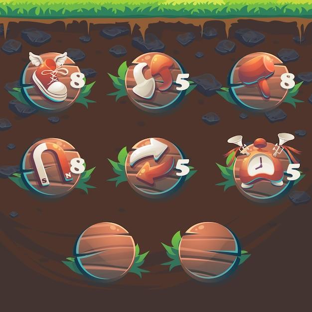 Fox gui match3ゲームのユーザーインターフェイスブースターをフィードします Premiumベクター