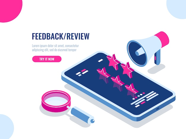 Feedback and review on mobile application, recommendation message, reputation on the internet Free Vector