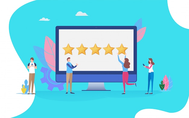 Feedback review scroll. Premium Vector