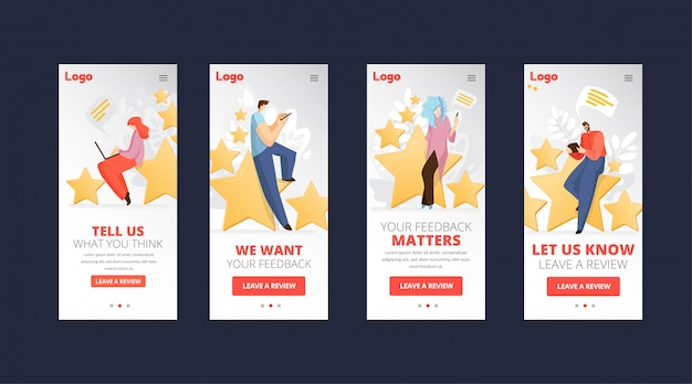 Feedback, survey flat app concept with people, man and woman sitting on big rating stars, writing reviews and making comments about service or product. rate evaluation and testimonial Premium Vector