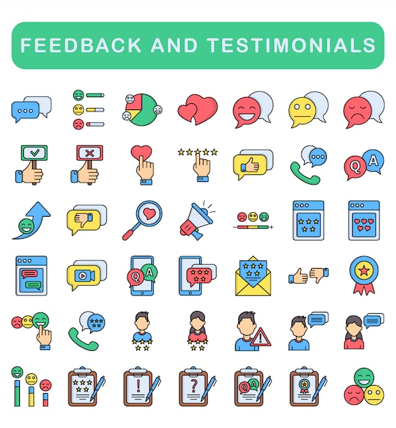 Feedback and testimonials icons set, lineal color style Premium Vector