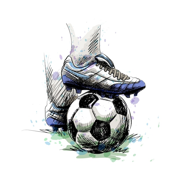 Feet of football player tread on soccer ball for kick-off on a white background Premium Vector