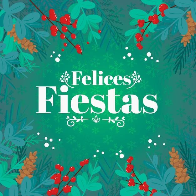 Надпись felices fiestas Бесплатные векторы