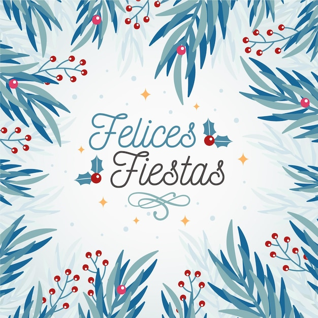 Felices fiestas with tree branches background Free Vector
