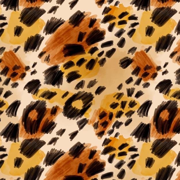 Reticolo senza giunte dell'acquerello di stampa animale felino Vettore gratuito