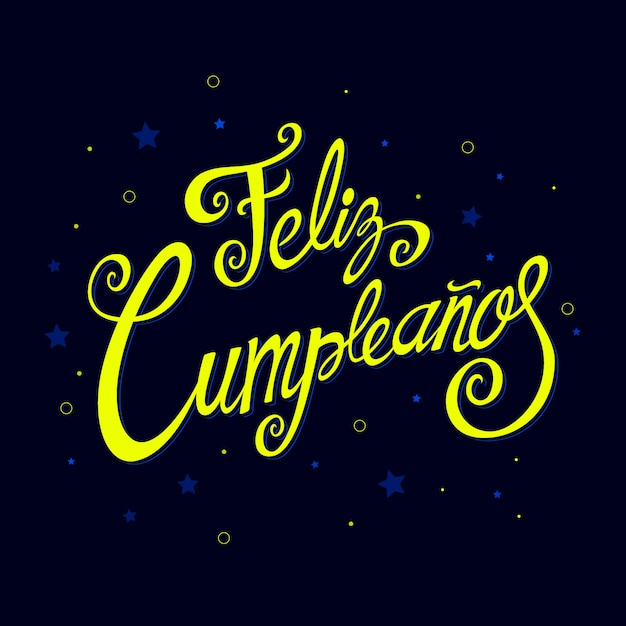 Feliz cumpleanos lettering with festive elements Free Vector