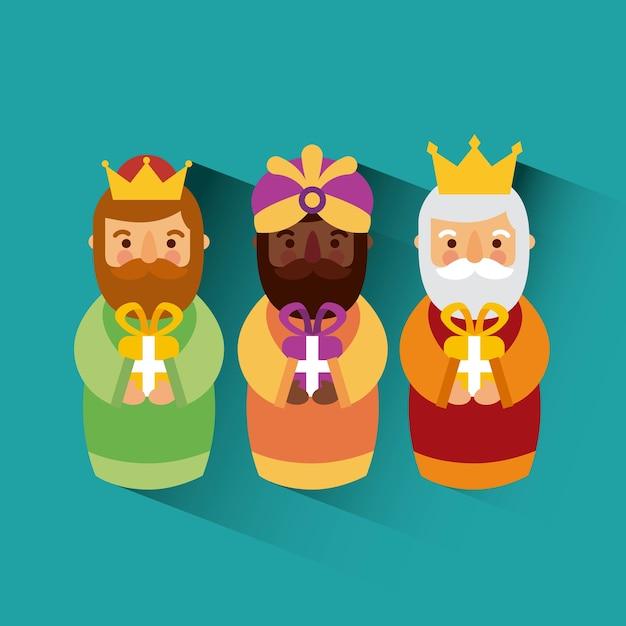 Feliz dia de los reyes three magic kings bring presents to jesus Premium Vector