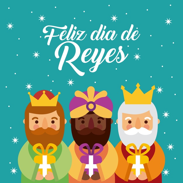 Feliz dia de los reyes three magic kings bring presents to jesus Premium Vector