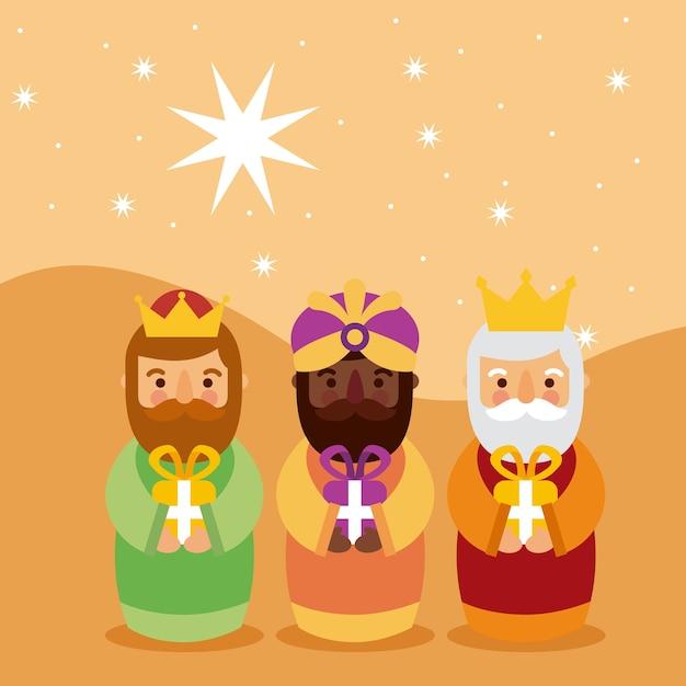 Фелиз dia de los reyes три волшебных короля приносят подарки иисусу Premium векторы