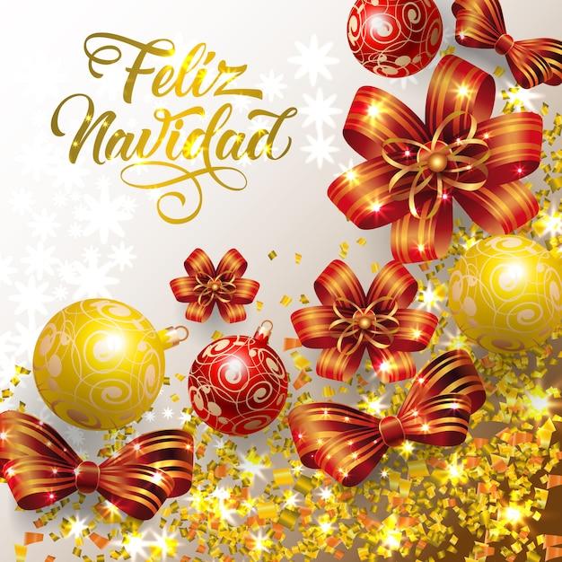 Feliz Navidad lettering with confetti and baubles Free Vector