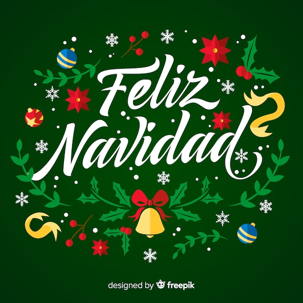 Feliz navidad lettering with ornaments Free Vector
