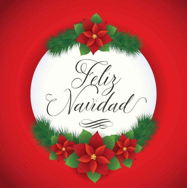 フェリスナヴィダード(スペイン語でメリークリスマス)ポインセチアの花の組成-コピースペース Premiumベクター