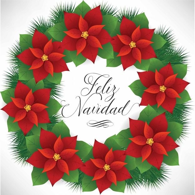 フェリスナヴィダード(スペイン語でメリークリスマス)ポインセチアリース-コピースペース Premiumベクター