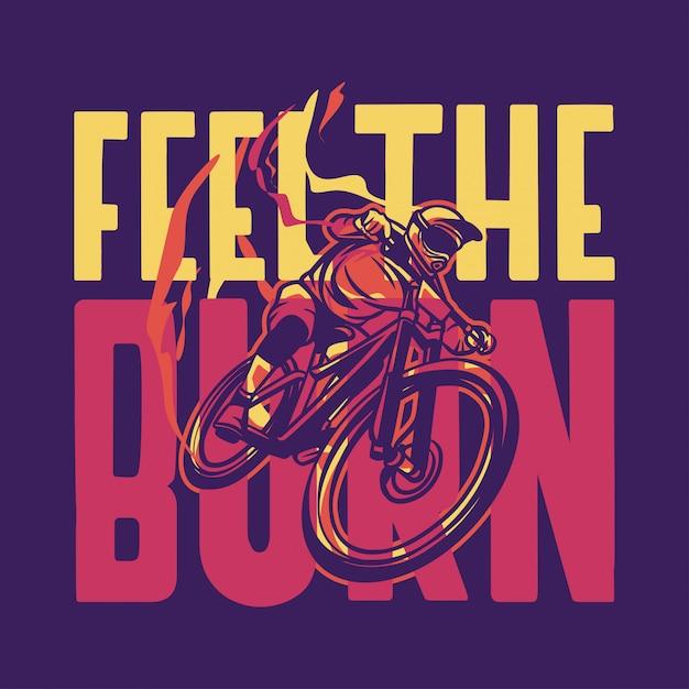 Сгорел цитата с горным велосипедом Premium векторы
