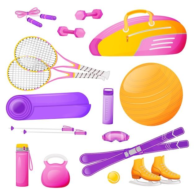 여성 에어로빅 장비 평면 색상 개체 집합입니다. 테니스 라켓 핑크 가방. 피트니스 훈련. 줄넘기. 흰색 배경에 스포츠 장비 2d 격리 된 만화 일러스트 프리미엄 벡터