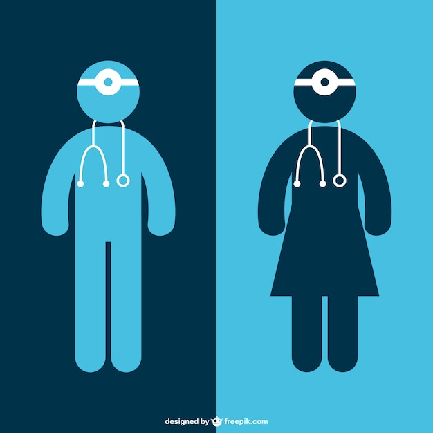 Female and male doctors silhouettes