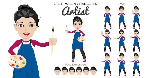 さまざまなポーズや表情の女性アーティストキャラクターセット Premiumベクター