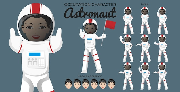 さまざまなポーズと顔の表情を持つ女性宇宙飛行士の文字セット Premiumベクター