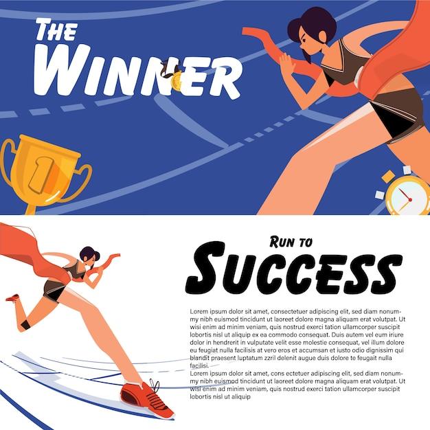 Female athlete crossing finish line. Premium Vector