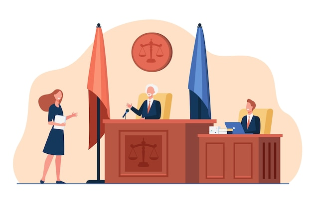 Female attorney standing in front of judge and talking isolated flat illustration. Free Vector