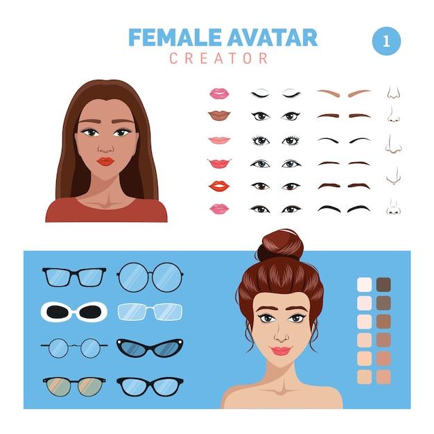 Female avatar creator part 1 Premium Vector